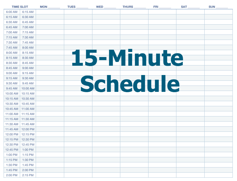 Daily Schedule Template 15 Minute Increments | Blank Calendar Printing